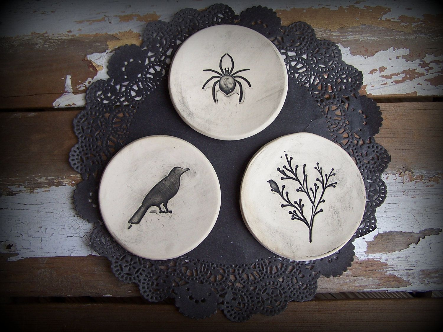 Halloween Raven Spider and Tree Trio of Decorative Mini Plates by mudandfiber on Etsy & Halloween Raven Spider and Tree Trio of Decorative Mini Plates by ...