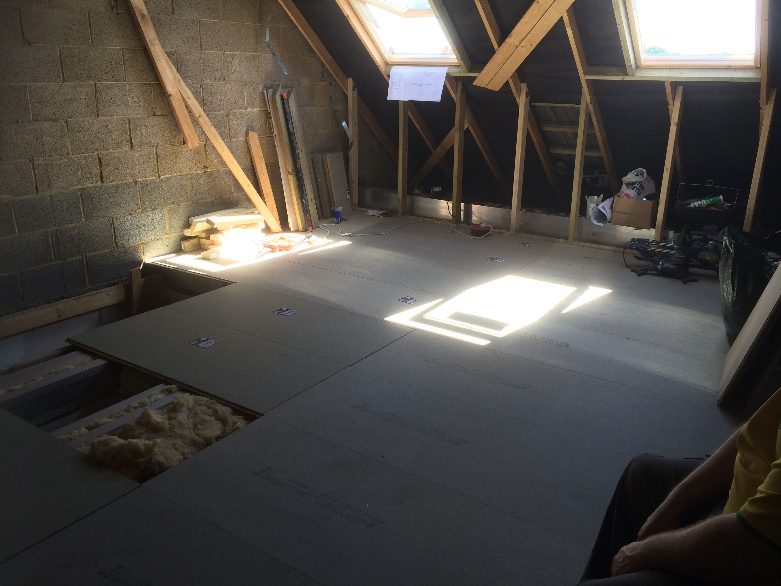Floorboards Down Apart From Where The Stairs Will Go Where The Loft Hatch Currently Is 10 Days In It S Star Diy Loft Conversion Loft Conversion Attic Loft