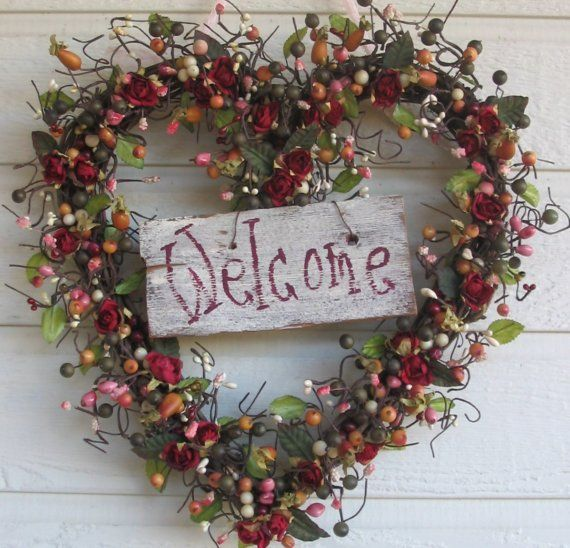 Shabby Chic Heart Wreath Welcome Shabby Chic Hearts Heart Wreath Wreaths