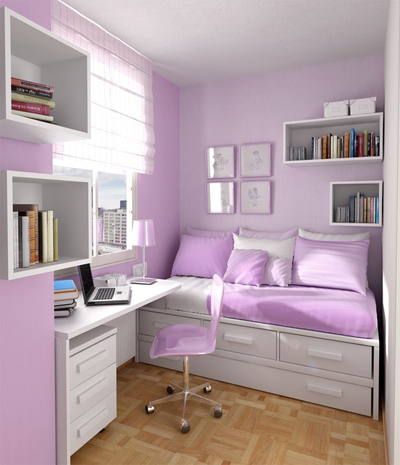 Room Decorating Ideas For Teenage Girls: 10 Purple Teen Girls Bedroom  Decorating Trends Ideas Purple Teen  Box shelves. Good for small room