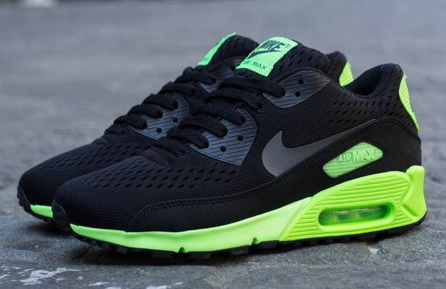 outlet store ecbb5 faa88 Nike Air Max 90 EM - Black   Dark Grey - Flash Lime   KicksOnFire.com