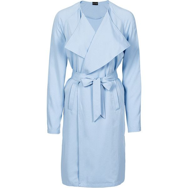 Trenchcoat (60.335 ARS) ❤ liked on Polyvore featuring outerwear, coats, blue coat, blue trench coat and trench coat