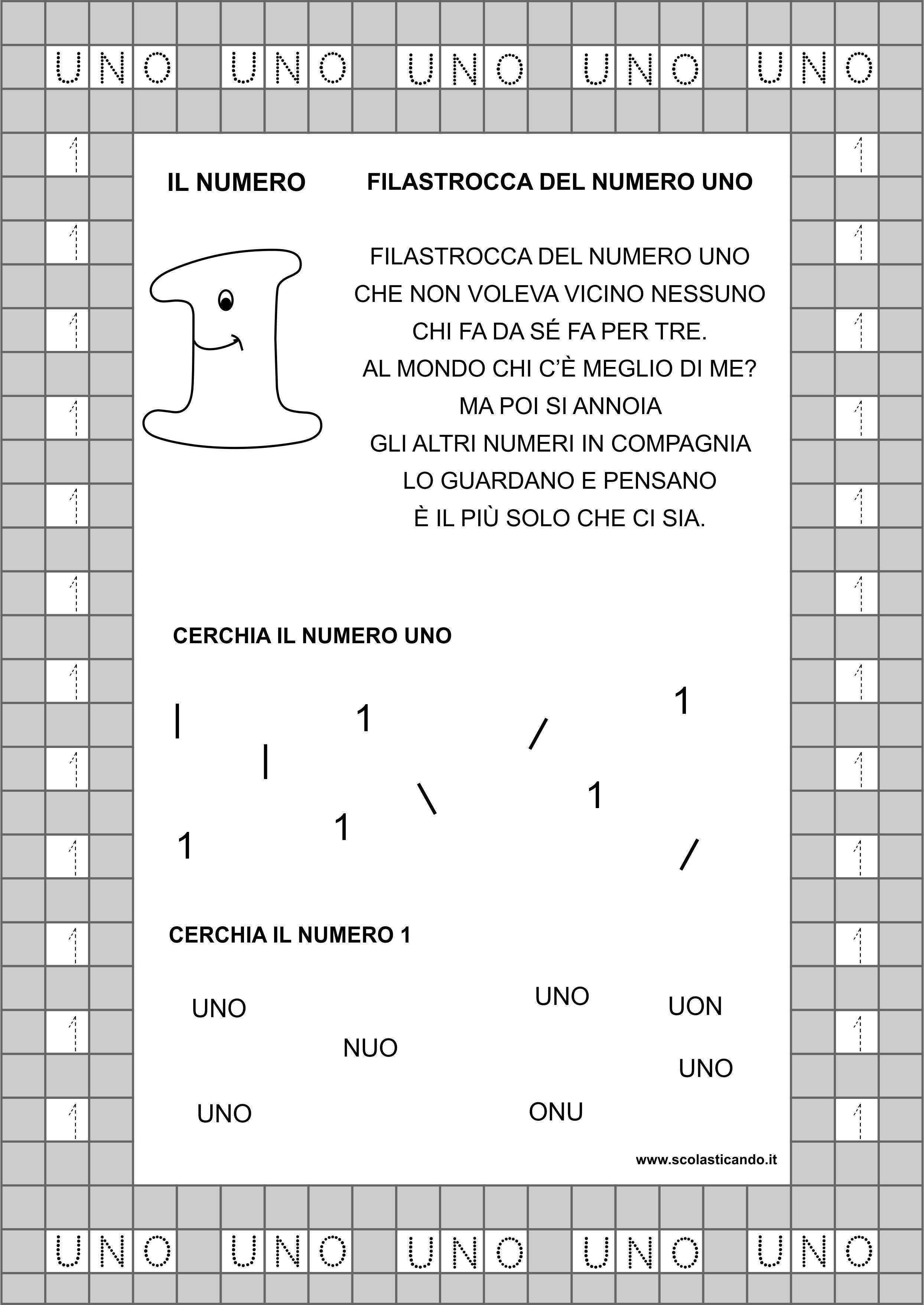 Popolare Classe prima, matematica: il numero 1, schede da scaricare  AV85
