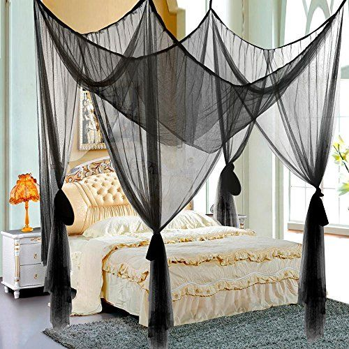 [Canony Bed DIY Ideas] Yaheetech 4 Corner Post Bed Canopy Mosquito Net Full Queen King Size Netting Bedding (Black) *** Find out more at the image link. & Canony Bed DIY Ideas] Gotobuy 4 Post Bed Four Corner Mosquito Bug ...