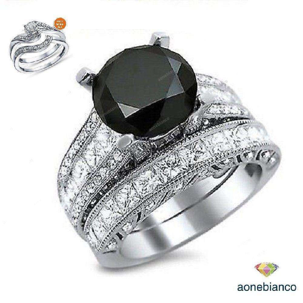 5.70 Carat Round Cut Black Diamond Engagement Bridal Ring Set \