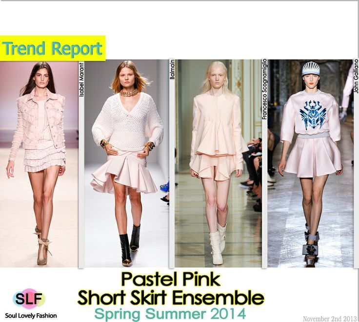 Pastel Pink Short #Skirt Ensemble #Fashion Trend for Spring Summer 2014 #spring2014 #pastel #pink #colors #trends