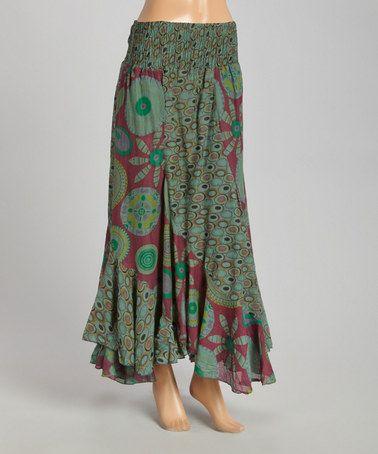 Another great find on #zulily! Khaki Floral Shirred Maxi Skirt - Women #zulilyfinds