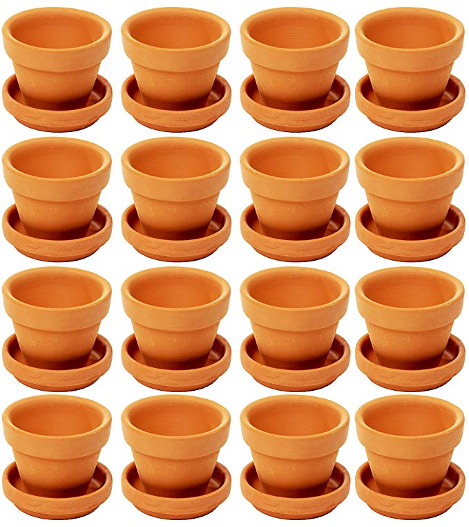 Amazon Com Juvale Mini Terra Cotta Pots With Saucer 16 Pack Clay Flower Pots With Saucers Mini Flowe Clay Flower Pots Small Terracotta Pots Terracotta Pots
