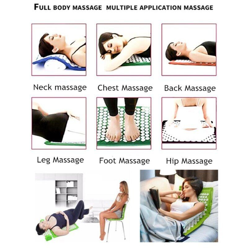 Acupressure Massage Pads Yoga Relax Rug Acupuncture Mat Pillow Set Back Neck Stress Relief Yoga Yoga For Stress Relief Acupressure Massage Massage Relaxation