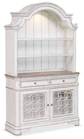 Marcelle Buffet And Hutch  Vintage White  Buffet Dining Cabinet Gorgeous White Dining Room Cabinet Design Decoration