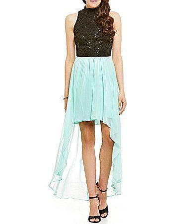 22fc931f7ed B Darlin Mock Neck Sequin Lace HighLow Sheath Dress  Dillards