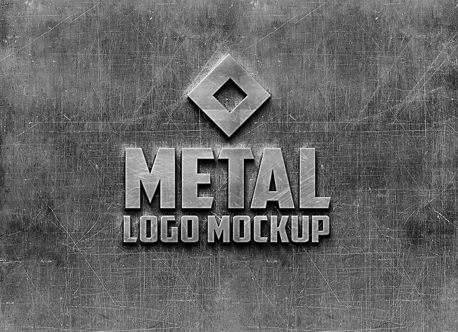 Free Photorealistic Metal Logo Mockup PSD