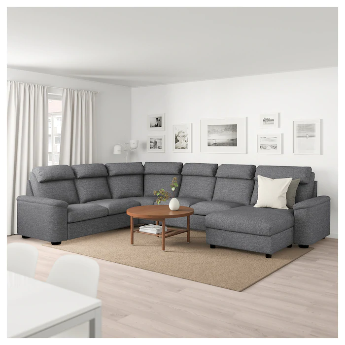 Lidhult Sectional 5 Seat With Chaise Lejde Gray Black Ikea In 2020 Beige And Grey Living Room Corner Sofa Corner Sofa Bed