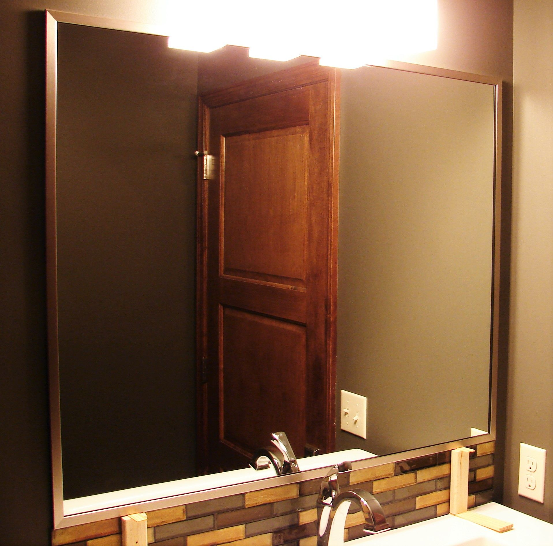 Bathroom Mirrors Omaha mirror in custom metal frame, installedelite glass services