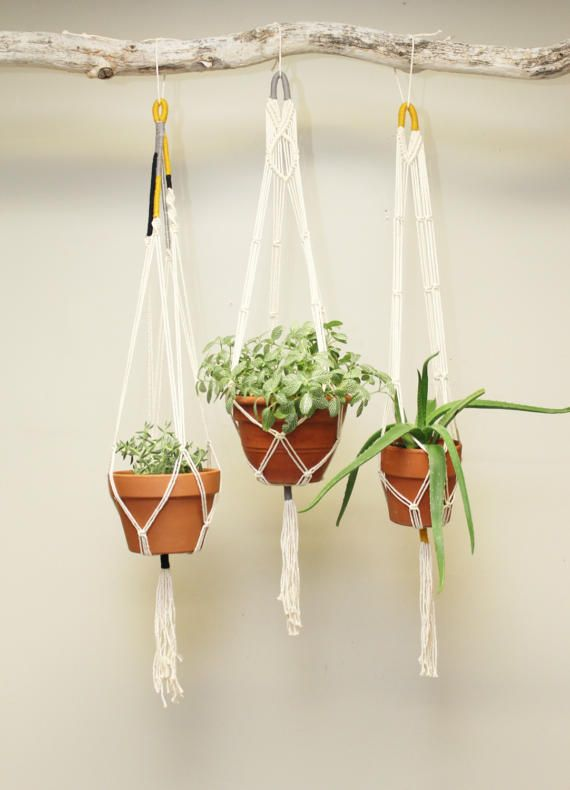 Macrame Plant Hangers  Set of 3 by #fallandFOUND on Etsy