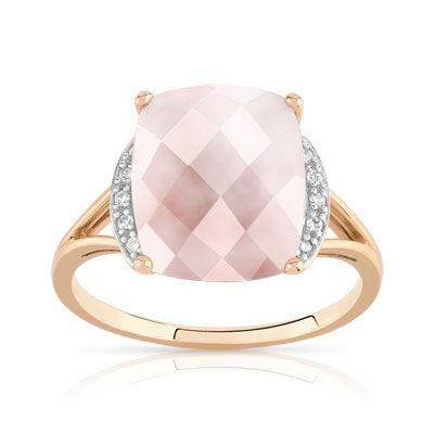 bague or avec quartz rose