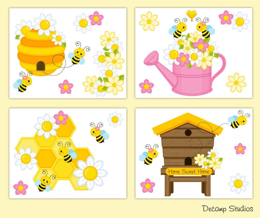 Bumble Bee Nursery Prints Floral Girl Wall Art Room Decor Hive Honey ...