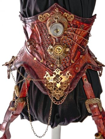 blackwater leather  handcrafted leather steampunk corset