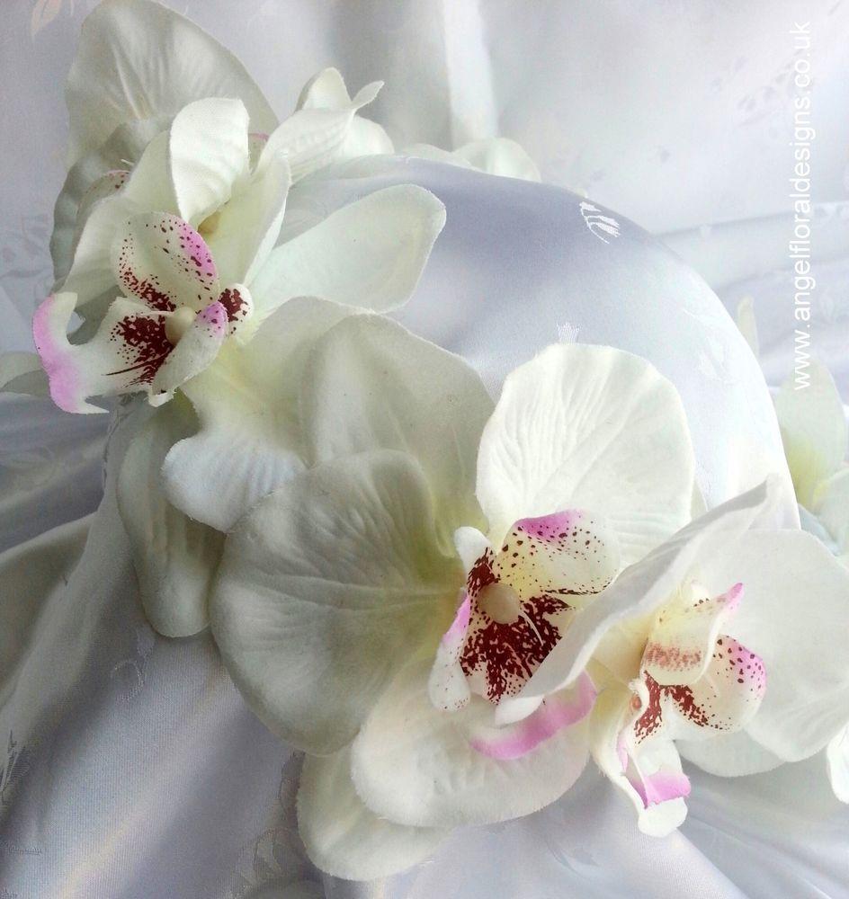 bridal hair accessory bridal headband orchid hair ring white in