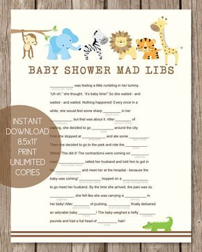 Comprehensive image with baby shower mad libs printable free