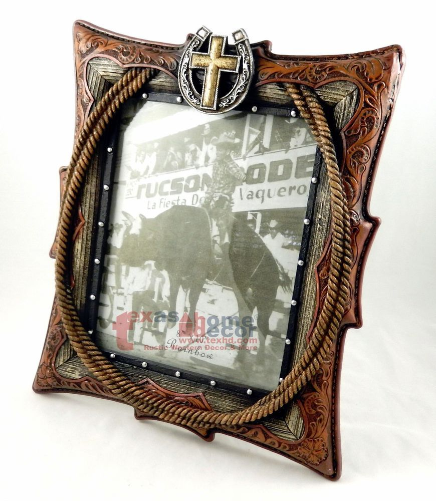 Rustic Western 8x10 Picture Frame Horseshoe Rope Leather Look