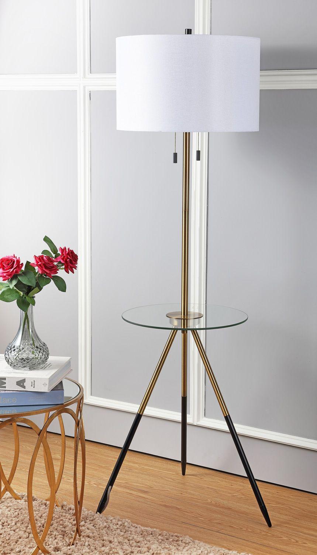 Safavieh Morrison 61 In H Duo Floor Lamp Side Table Brass Gold Black Walmart Com Luces