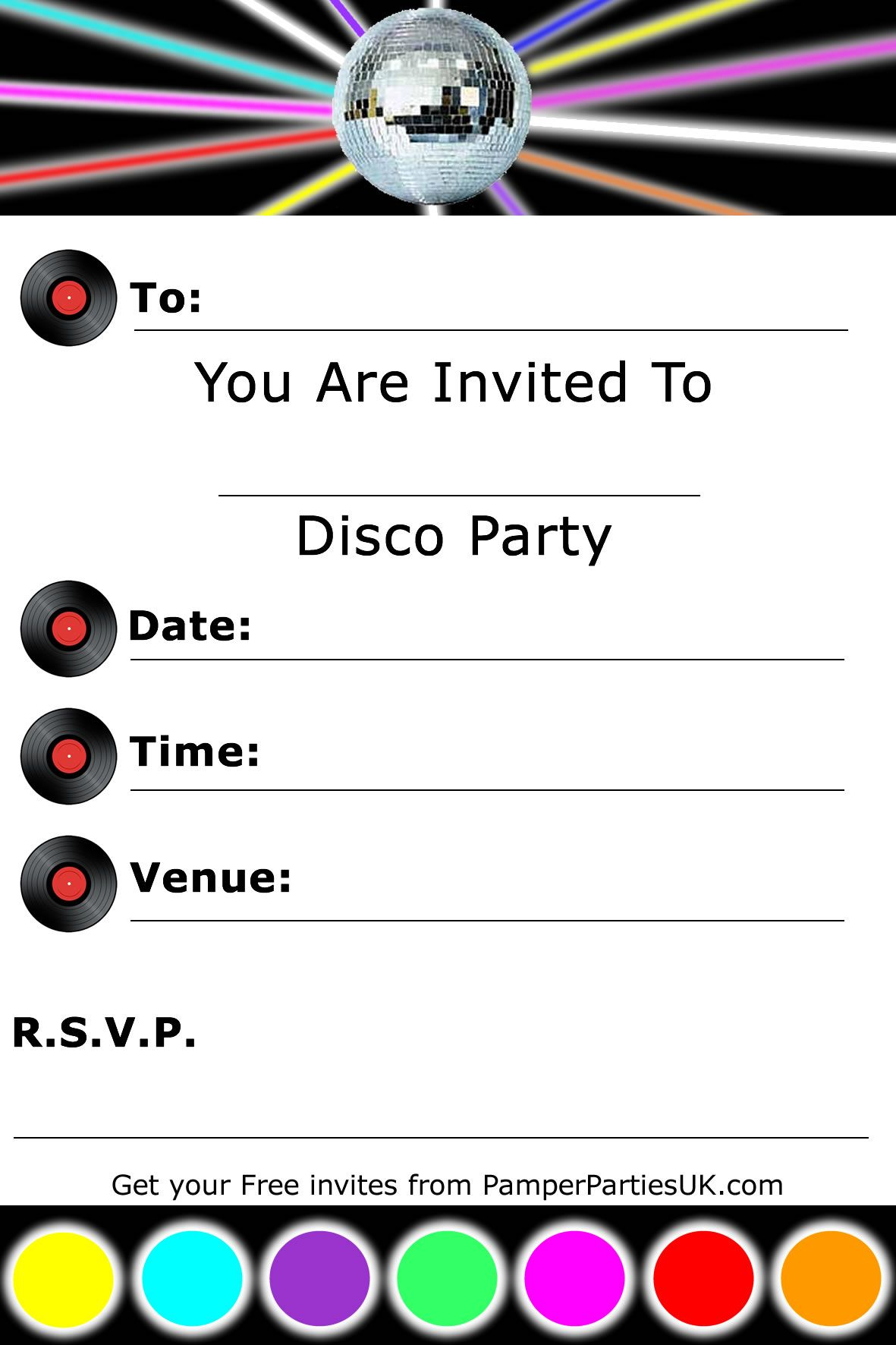 Invitations | Free Disco Party Invitations - Disco Invites | Nana ...