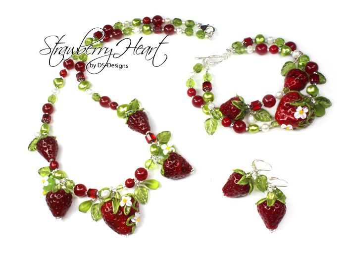 ~~✿ STRAWBERRY HEART ✿~~  Strawberry Jewelry Set by DS-Designs