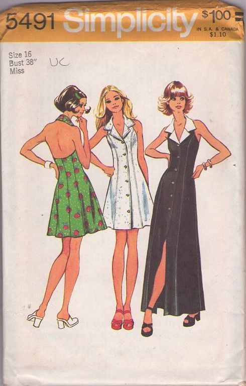 MOMSPatterns Vintage Sewing Patterns - Simplicity 5491 Vintage 70's Sewing Pattern SEXY Disco Bare Back Collared Halter Top Front Buttoned Coat Dress, Mini or Maxi Gown