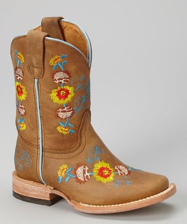 Look what I found on #zulily! Tan & Yellow Floral Embroidered Leather Cowboy Boot #zulilyfinds