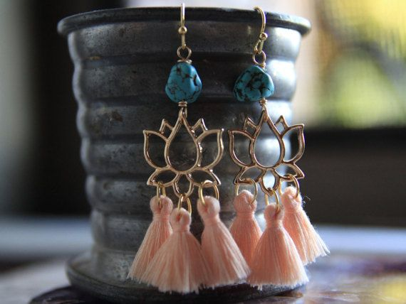 Lotus Tassel Earrings by BoandHo on Etsy