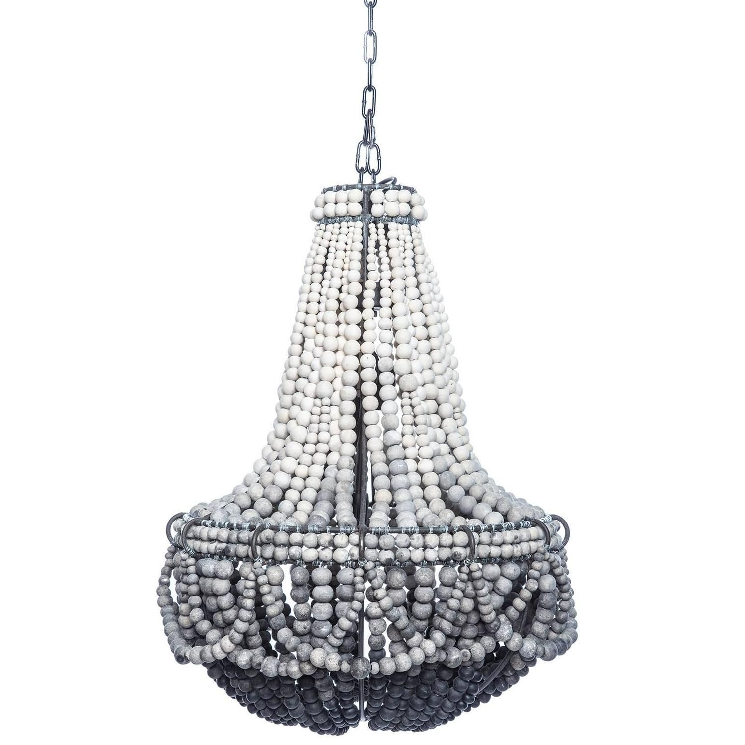 Ombre black clay beaded chandelier beaded chandelier for Wood pendant chandelier