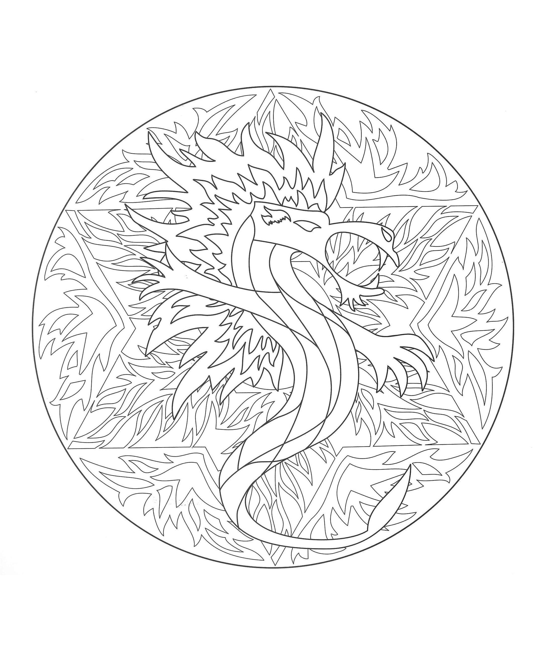 Free Mandala coloring page, representing a Dragon. To ...