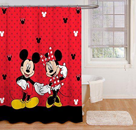 Disney Mickey And Minnie 70 X 72 Fabric Shower Curtain Mickey