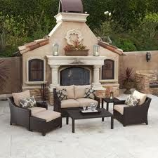 Outdoor Fire Place And Patio Sent Outdoor Seating Set Deep Seating Patio Furniture Outdoor Living