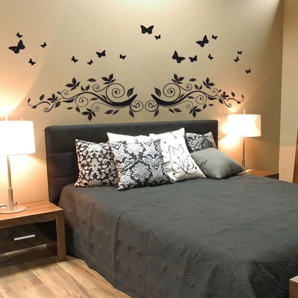 stickers t te de lit encadrement de lit stickers pour chambre d coration murale pour. Black Bedroom Furniture Sets. Home Design Ideas