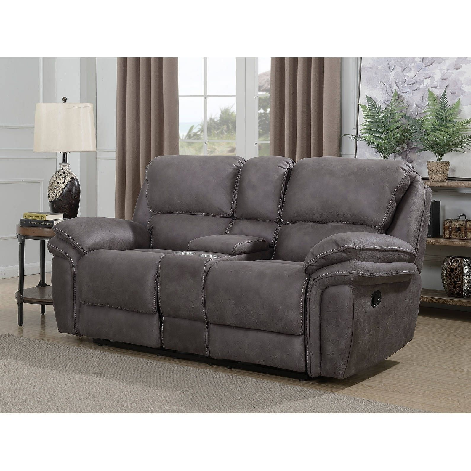 Sofa Relax Con Usb Henry Dual Lay Flat Reclining Loveseat With Storage Console