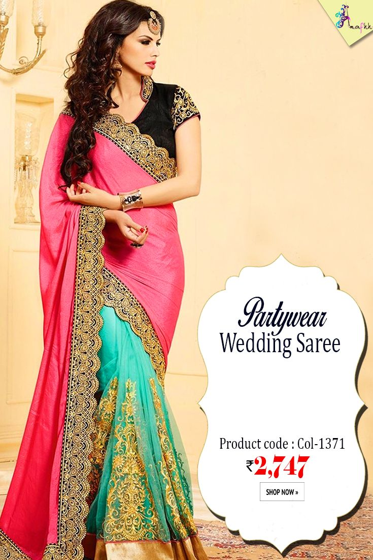 Pink & Firozi #WeddingSaree #Designer pink with this silk and georgette saree from Amafhh. This high fashion ensemble comes with an appropriate matching velvet blouse #womanwear #sareecollection #designersari #shopping #ethnicwear #weddingwear #latestcollection #newdesigns #onlineweddingwear #thechoiceisyours