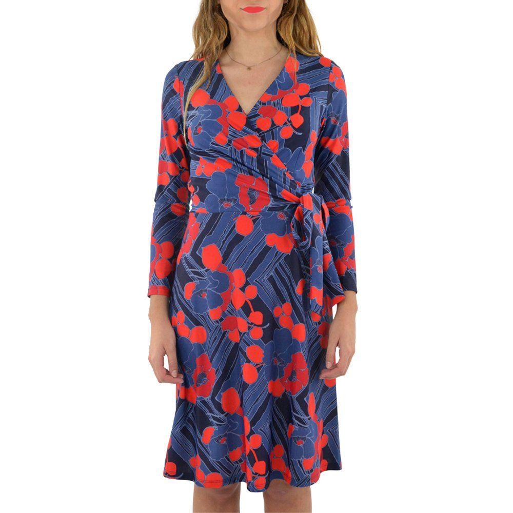 Jude connally farrah wrap dress in mod floral midnight medium mod