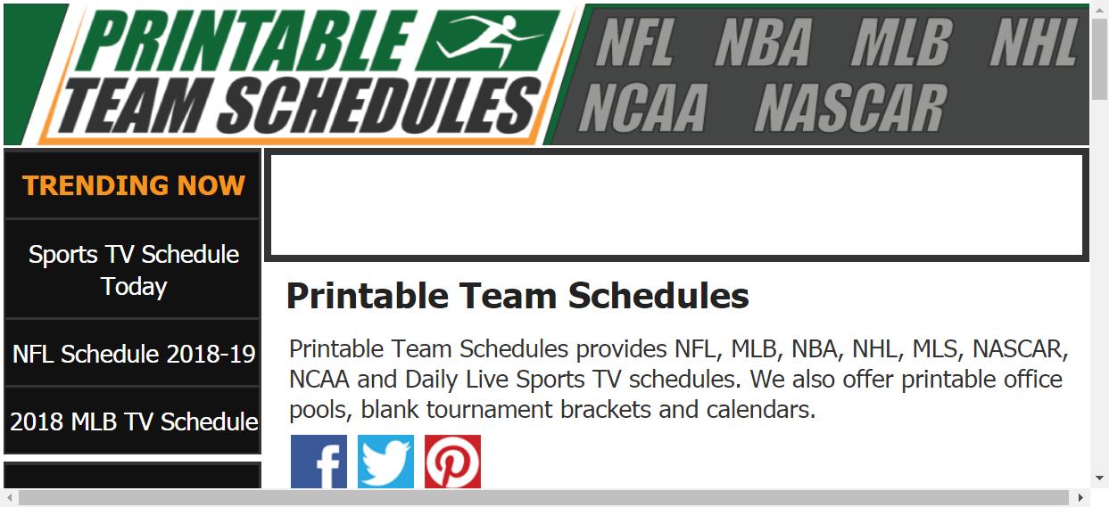 Printable Team Schedules NFL, MLB, NBA, NHL, NCAA Team