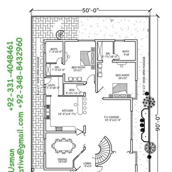 1 kanal house plan, 50x90 house plan,1 kanal modern house
