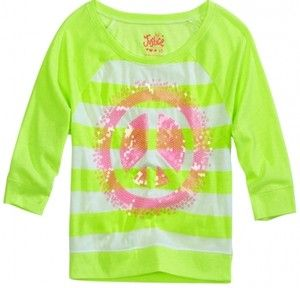 Nwt Justice Girls Neon Green White Sequin Peace Raglan Tee Top U Pick New Justice Girls Clothes Girl Outfits Clothes