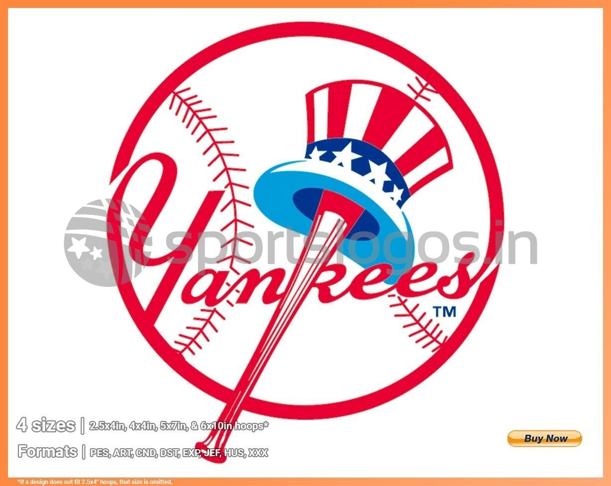 New York Yankees Baseball Sports Embroidery Logo In 4 Sizes Spln003005 Embroidery Logo Digital Embroidery Embroidery