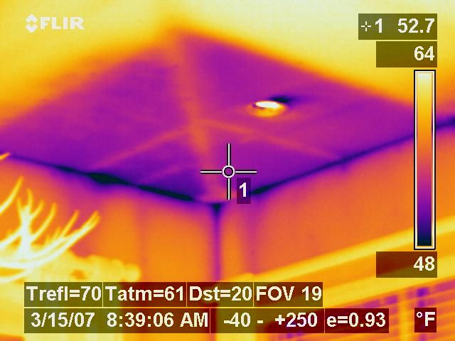 For Summer Here S An Infrared Picture Of A Cold Air Leak Darker Area Is Colder Air From An Air Conditioned House Leaking Throug Air Leaks Heat Energy Thermal