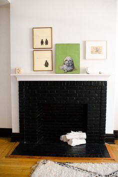 brick fireplace painted black - Google Search | Fireplace ...