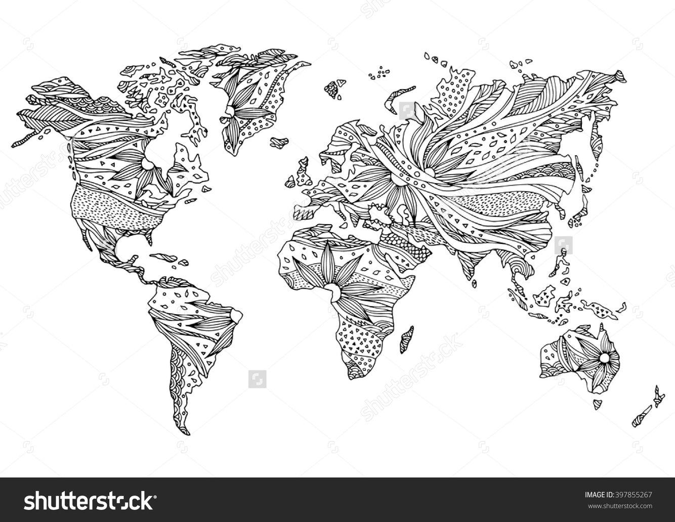Hand drawn world map | Furnishings | Drawings, Tattoos, Map