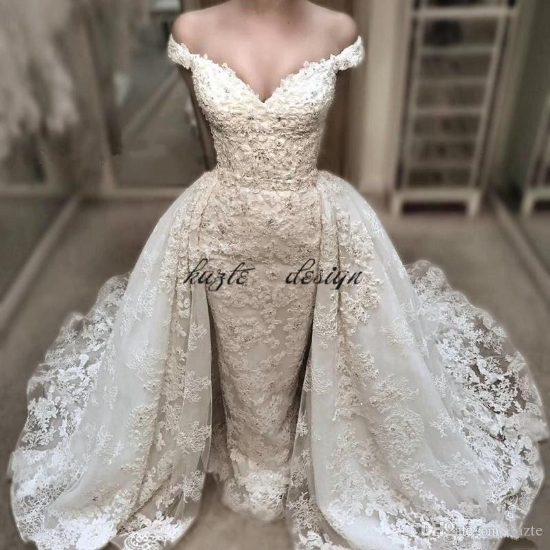 8773013461f Vintage Lace Mermaid Wedding Dress With Detachable Over-Skirts Charming Off  Shoulder V-Neck Wedding Gowns Beaded Applique Bridal Dresses Mermaid Wedding  ...