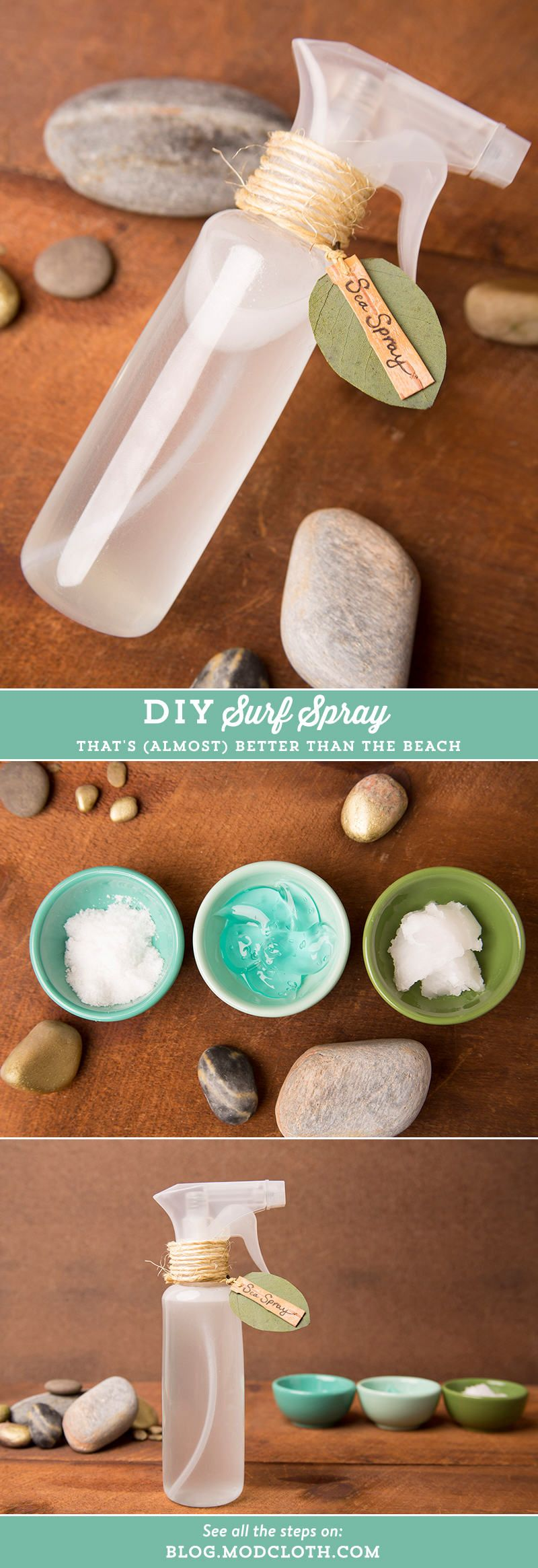 ¡Crea un spray para tu cabello y obtén ondas de playa!Necesitas: 1 Botella de plásticos 1 cda de gel para el cabello 1 cda de aceite de coco, derretido. 2 cdas de sal de mar 1 1/2 tza de agua tibia