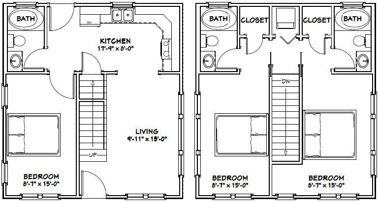 22x24 House 22x24h1 987 Sq Ft Excellent Floor Plans