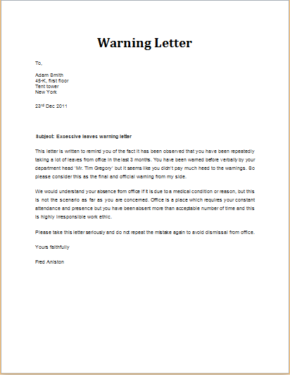 Excessive Leave Warning Letter Download At Http://Www
